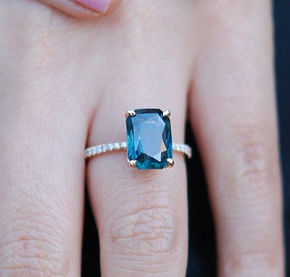 Peacock Sapphire Engagement Ring 3 12ct Emerald Cut Blue