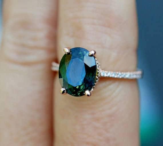green sapphire engagement ring peacock green sapphire 3