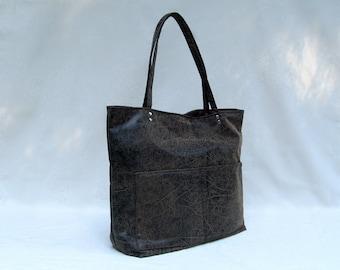 ALT-LEATHER TOTE // Large Rectangular Tote //  Large Vegan Tote // Large Vegan Shoulder Bag