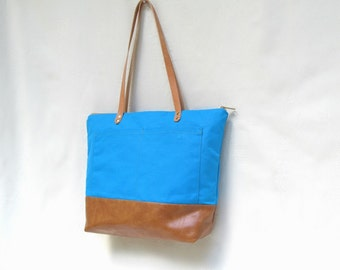 SARAH D. SHOULDER BAG // Waxed Canvas Tote // Waxed Canvas and Faux Leather Carry-All //  Turquoise Tote