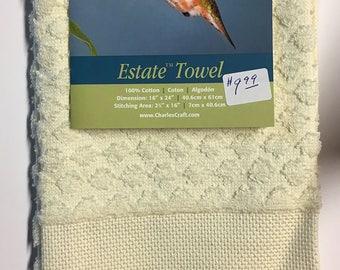 "CLEARANCE Estate Diamond Weave Towel 16 Count 16""X24"" 100% Cotton Aida Border Hummingbird and Flowers"