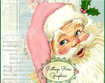 Songs from Santa Pink Christmas roses Large digital download  ECS buy 3 get one free  single image printable ECS