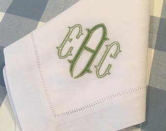 Monogrammed Linen/Cotton Dinner Napkin Embroidered Table Linens