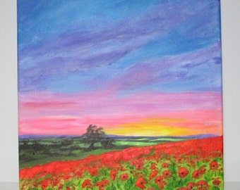 """ORIGINAL ACRYLIC PAINTING: """"Poppies at sunset"""" 10"""" x 10"""" landscape, acrylics on stretched canvas."""