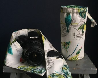 Camera lens pod drawstring case and camera strap cover with lens pocket