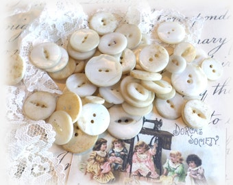 50 SHABBY Vintage Pearl Buttons from Muscatine Iowa for Sewing Crafts Scrapbooking Cardmaking Jewelry