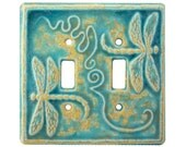 Dragonflies Ceramic Light Switch Cover- double toggle in aqua stone glaze