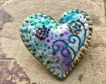 Turquoise Heart Brooch with Beads and Embroidery on Hand Painted Fabric