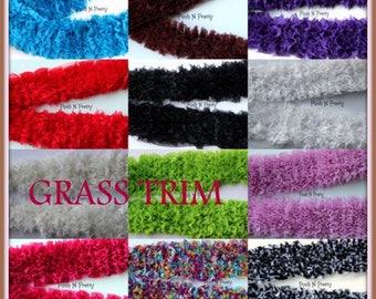 "3.5"" Grass Trim grasstrim Fuzzy CHIFFON Two Yards  - Choose colors"