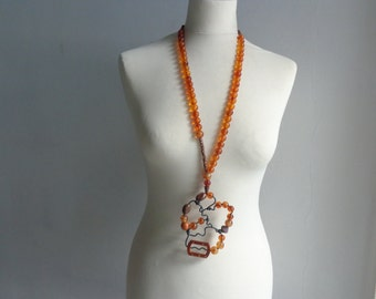 Amber brown statement necklace long necklace wire necklace