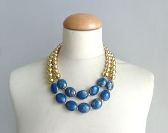 Gold blue necklace, blue chunky necklace, double strand