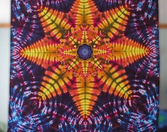 Mandala Tapestry, cotton tie dye tapestry, tye dyed by GratefulDan, tapesty dimmensions are  (45.0 inches x 53.0 inches), Ready to Ship