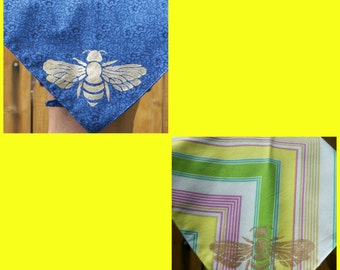 Bee and Seed Festival Selection of Two Scarves Wrap Bandana Head Kerchief