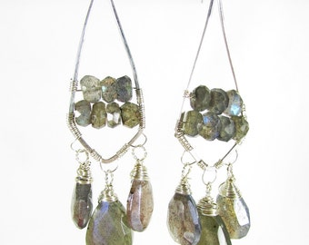 Labradorite Chandelier Earrings, Long Gemstone Earrings, Labradorite & Sterling Silver Earrings, Long Dangle Earrings