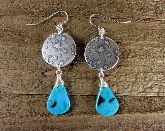 Turquoise Earrings, Sun, Moon & Stars Earrings, Astrological Earrings