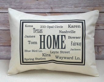 Personalized Home Moving relocating Pillow Addresses, moving gift, relocating gift, transferring gift
