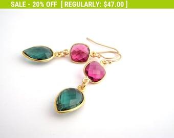 20% Off Sale Pink And Green Tourmaline Crystal Earrings, Raspberry Pink, Teal Green, Dangle Earrings