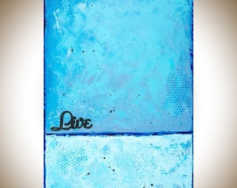 Art painting Turquoise blue abstract live painting on canvas wall art canvas art original art home decor gift for friends art by qiqigallery