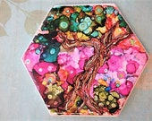 Hexagon Tile painting Bonsai Tree