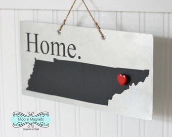Tennessee State Silhouette Home Sign Magnet board with Chalkboard State and Red Heart Magnet