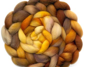 BFL Roving Blue Face Leicester Combed Top Wool, Golden Lion, 6.3 oz.