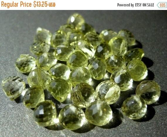 50% Off 12 Natural Lemon Quartz Top Drilled Teardrop Briolettes 6x6mm Beads ST1017F