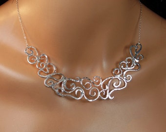 Sterling silver choker, filigree necklace, statement