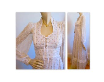Vintage 70s Gunne Sax Maxi Dress S Corset Top, Lace Puff Sleeves