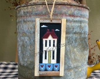 2 x 4 Mini Rustic Farmhouse Painting - White House, Green Door