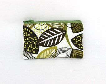 Pocket Zipper Case, Change Purse, Card Case, Coin Purse, Olive Green Leaves 8646