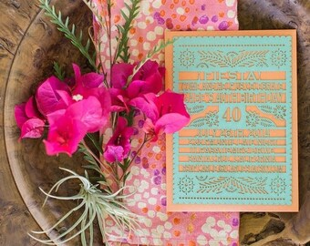BIRTHDAY Laser cut Invitation - 35 pieces Papel Picado Inspired - As seen on Style Me Pretty