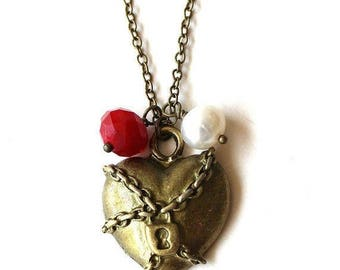 Clearance Sale Chained and locked heart, red bead and white pearl necklace