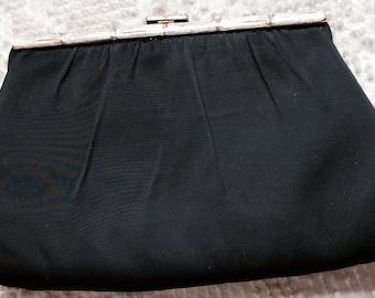 VINTAGE CLUTCH PURSE, black satin, metal clasp, mid century, dress up bag