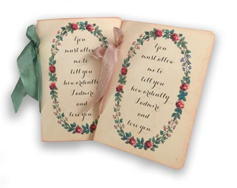 Wedding Vow Books, Custom Jane Austen, Darcy Quote, Jane Austen Wedding, Ardently Admire and Love You, Pair of Custom Wedding Vow Books,
