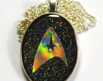 Small Star Trek Federation Starfleet Logo Sci Fi Holo Holographic Geek Resin Pendant