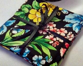 Mug Rug Set of 4, IRIS, Fabric Coasters, Handmade, Hostess Gift, FREE Shipping in USet