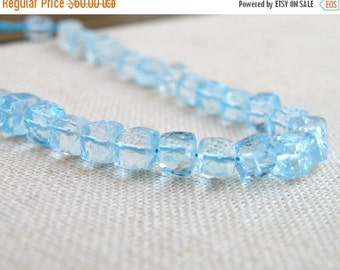 Black Friday Sale Sky Blue Topaz Gemstone Faceted Cube 6mm 15 beads Wholesale