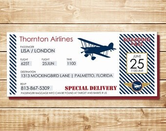 PRINTED Airline Ticket 3.667 x 8.5 Vintage Biplane Baby Shower Invitation, White Envelope in Navy, Red, White, and Gold w/ Plane Silhouette
