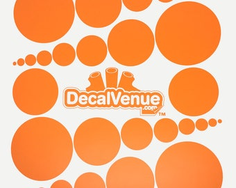 Orange Polka Dot Circles Wall Decals - Various sizes - Mix and Match dots vinyl stickers