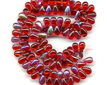 Vintage Red AB Beads 10mm Tear Drop Top Hole 50 Pcs.
