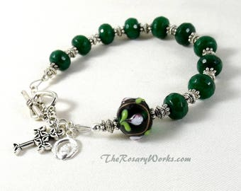 Irish Rosary Bracelet Chaplet Celtic Claddagh Green Faceted Jade Handmade Lampwork Singled Decade Prayer Beads