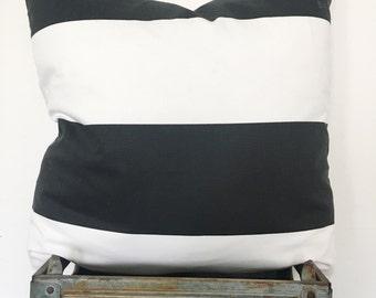 Wide black & white striped canvas pillow cover / modern / farmhouse