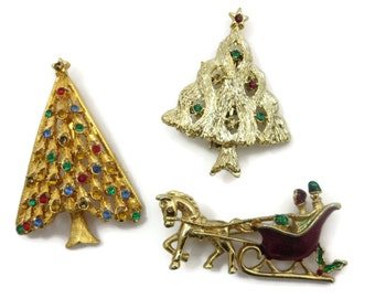 Christmas Brooch - Xmas Trees, Sleigh Enamel Holiday Costume Jewelry Gerrys
