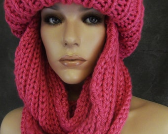Accessory,Winter Hats,Women,Toboggan,Infinity Scarf,Pink,Hand Knit,One Size,Ski Hat,