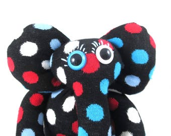 Sock Elephant SIEGFRIED, black, red, white, blue spots, polka dots, happy socks, handmade, rattle, soft toy plush.