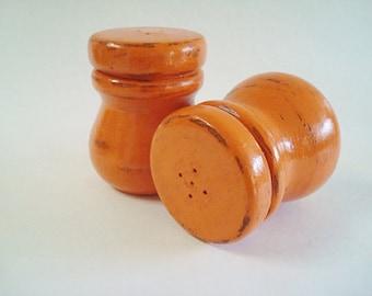 Wood Salt and Pepper Shakers Painted Orange