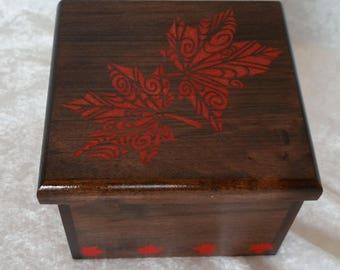 Custom Ambrosia Maple Box with leaf