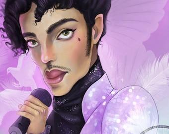 Prince 8X8 Print | when doves cry, prince art, prince fan, purple rain, fan art | by Meluseena