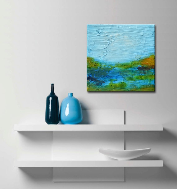 Miniature Landscapes Original Abstract Textured Painting with Certificate of Authenticity blue abstract small original gift, christmas