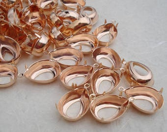 12 Rose Gold 18x13mm Pear Teardrop Open Back 1 Ring/Loop Setting for Pointed Back or Flat Back Rhinestones or Cabs